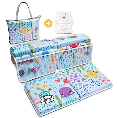 Bath Kneeler and Elbow Rest Pad | Includes Hooded Baby Towel Extra Soft | Baby Bath Kneeler and Bath Elbow Saver | Bath Kneeler Baby Bathtub Cushion