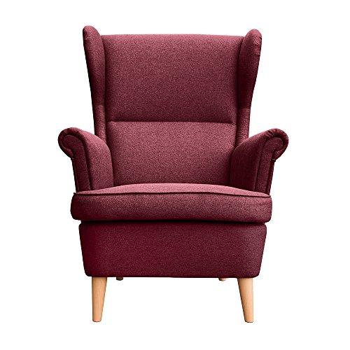 myHomery Sessel Luccy gepolstert - Ohrensessel Polsterstuhl für Esszimmer & Wohnzimmer - Lounge Sessel mit Armlehnen - Eleganter Retro Stuhl aus Stoff mit Holz Füßen - Bordeaux | Sessel
