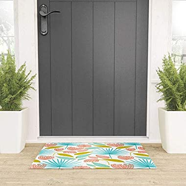 """Society6 83 Oranges Divine Floral Welcome Mat, 30"""" x 20"""", Blue"""