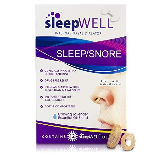 Sleepwell Sleep/Snore Internal Nasal Dilator for Snoring Relief, Congestion Relief, Restful Sleep, Restorative Sleep, Increase Airflow, Soft, Comfortable, Latex Free, Drug Free, Nasal Strips, 12Count