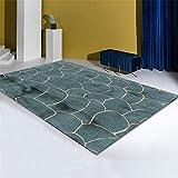 Kunsen alfombras habitacion Matrimonio Decoracion habitacion Alfombra Verde líneas Doradas salón Dormitorio decoración Moderna Alfombra pie de Cama 60X90CM 1ft 11.6
