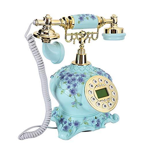 Teléfono Fijo Residencial Retro de Diseño Vintage, Teléfono Antiguo con Cable para Hoagres, FSK DTMF Visualización de Llamadas, Teléfono Retro de Escritorio para Decoración de Hogres