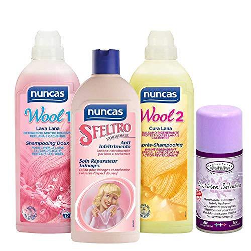 DC NUNCAS Kit Cura Lana - Wool 1 Lava Lana 750ML - SFELTRO 500ML - Wool 2 Cura Lana più Deodorante SALVATESSUTI,Orchidea Selvatica,150ML
