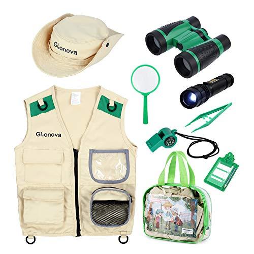 Glonova Kit binocolo Giocattolo per Bambini, Costume da Esploratore Bambino Costume Gilet paleontologo, Lente d Ingrandimento binocolo con Lente telescopica, 9 Pezzi