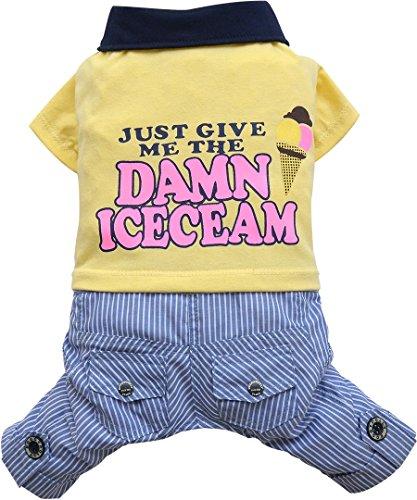 Doggy Dolly C246 hondencombi stoffen broek met hondenshirt ijs, geel/blauw, S Brust 36-38cm, Rücken 23-25cm