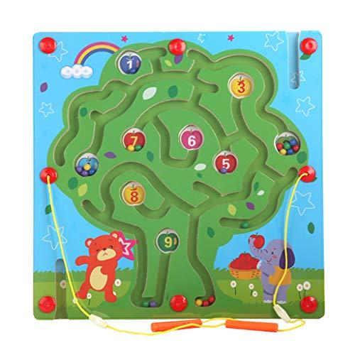 FEANG 2 in 1 Holzbrettspiel, Ludo Fliegende Schach und Zoo Labyrinth Magnetic Puzzle für Kinder Lernen Bildung Spielzeug (Color : D)