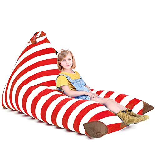 POKONBOY Stuffed Animal Storage Bean Bag, Bean Bag Cover for Organizing Kid's Room, Extra Large Stuffed Animal Storage Stuffed Many Animals Bean Bag Chairs for Kids - 100% Cotton Canvas Red Stripe