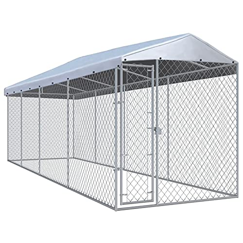 Festnight Outdoor Dog Kennel Cage with Shelter Cover Roof Lockable Heavy Duty Galvanized Steel Pet Run House Chain-Link Mesh Sidewalls Pet Exercise Fence Barrier for Backyard Garden