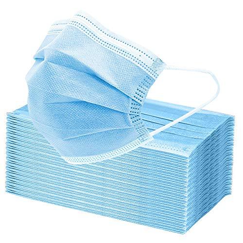 Maske Schutzmaske, 3 Lagig Einweg Mund und Nasenschutz Maske-Blau (50 Stück)