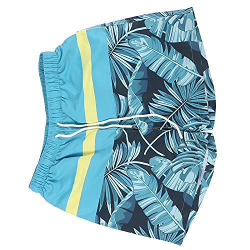 Faceuer Pantalones Cortos Estampados, Autoajustados De 8 A 16 Años Más Convenientemente Pantalones Cortos De Playa para La Playa Jugar para Correr Nadar(M-STK102004, Metro)