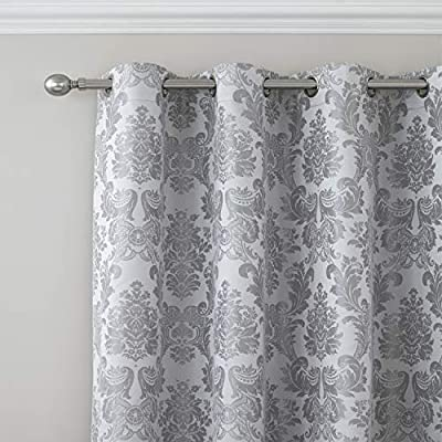 Catherine Lansfield Damask Jacquard Eyelet Curtains Silver, 66x90 Inch Or 66x72