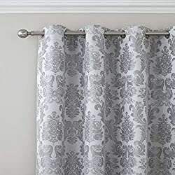 A bold damask jacquard in striking silver tones. Catherine Lansfield is renowned for style and quality - An everyday essential. This pack contains one pair of 66x90 inch eyelet curtains. Why not complete the look by purchasing the matching duvet set,...
