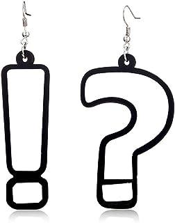 ANQIA Fashion Geometric Asymmetrical Acrylic Drop Earrings Hip Hop Style for Women Girls 1 Pair - Black