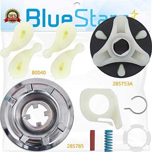 Ultra Durable 285785 & 285753A & 4pcs 80040 Washer Clutch Kit & Motor Coupling Kit & Agitator Dogs Kit Replacement by Blue Stars - Exact Fit For Whirlpool Kenmore Washers - Replaces 285331 3351342