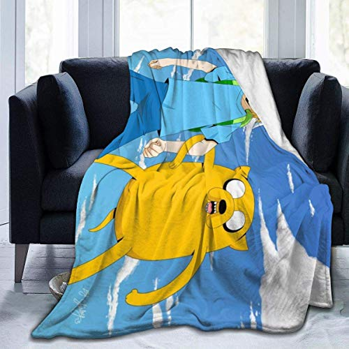 Adventure Time Finn Jak Decke - Manta de tiro ultra suave para cama, forro polar de franela, para todas las estaciones, ligera, para sala de estar / dormitorio, manta c¨¢lida para ni?os, adolescentes,