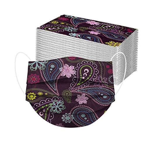 50pcs Paisley Floral Disposable Face_mask. with Designs for Women Girls Adults Colored Paper_Face_mask for Coronɑvịrus Protection Breathable 3 Layers with Nose Wire for Outdoor (50, Dark Purple)