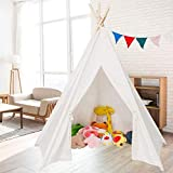 JOYMOR Extra Large Space 5 Poles Teepee Upgraded 6' Foldable Cotton Canvas Indoor Tent Indian Playhouse for Kids Play with Banner,Carry Bag,Window,Pocket (White)
