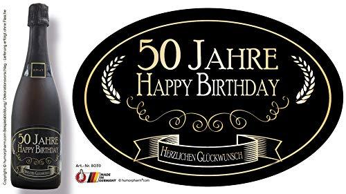 """""""50 Jahre - Happy Birthday"""" Aufkleber Flaschenetikett Etikett 50 Geburtstag oval gold elegant"""