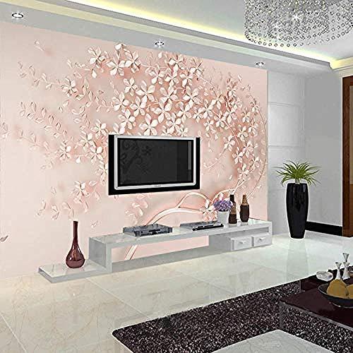 Naadloze Europese 3D-aangepaste muurschildering roze kersenbloesem-sofa slaapkamer nachtkastje achtergrond T wanddecoratie fotobehang 3d behang effect vlies muurafbeelding slaapkamer 400 x 280 cm.