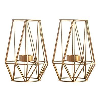 Nuptio 2 Pcs Metal Hexagon Shaped Geometric Design Tea Light Votive Candle Holders, Iron Hollow Tealight Candle Holders for Vintage Wedding Home Decoration, Gold (L + L)