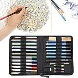 Lápices de colores, 51 piezas de lápices de colores profesionales para dibujar, escuela para estudiantes, aficionados a los dibujos