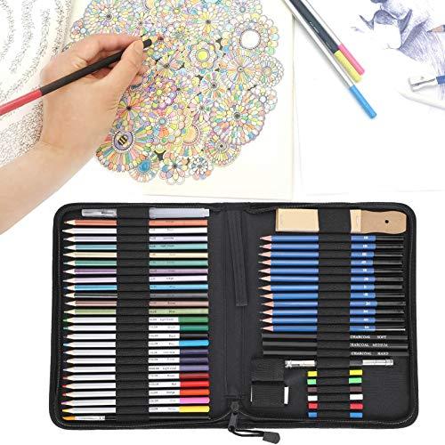 Juego de lápices de dibujo, lápices de colores, 51 piezas, duradero, ecológico para estudiantes, aficionados a los dibujos