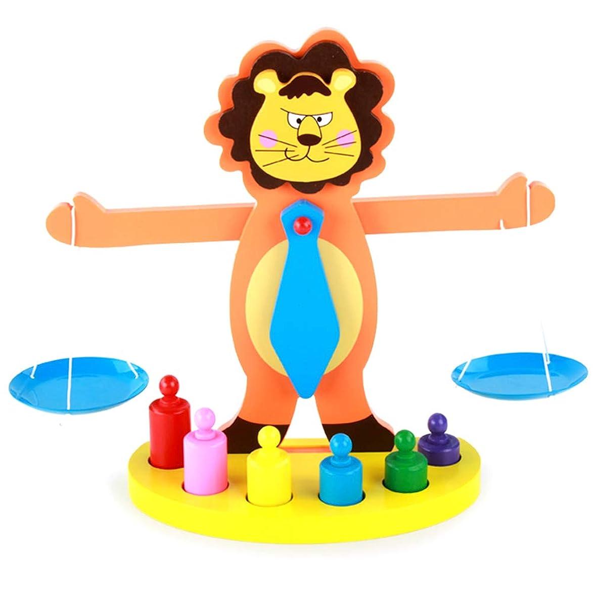 脱走好み立派なOurine バランスブロック 木製天秤 ライオンの仕様 バランスゲーム 積み木 木製パズル 組み立て 幼児 知育玩具 ブロック 木製おもちゃ カラフル 色の認識力 モデル 早期開発 入園祝い クリスマス 誕生日 プレゼント 贈り物