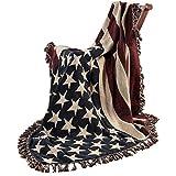 Homescapes handgewobener Überwurf Flagge Amerika 125 x 150 cm 100% reine Baumwolle – USA Stars &...