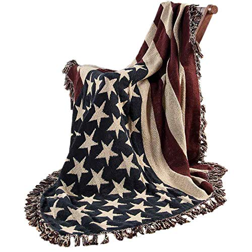 Homescapes handgewobener Überwurf Flagge Amerika 125 x 150 cm 100% reine Baumwolle – USA Stars & Stripes Jacquard Sofaüberwurf Sesselüberwurf Decke mit Fransen