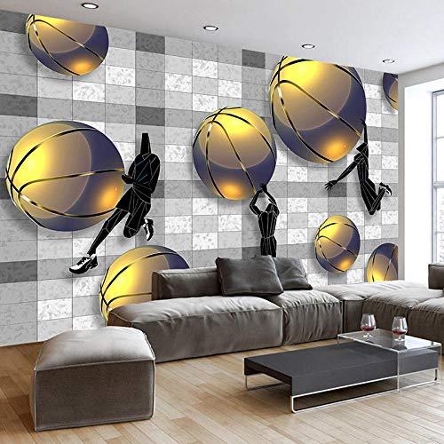 BYSQX Fotomurales Decorativos Pared Vinilos Decorativos Papel Fotografico 3D Abstracto Deportes Ejercicio Baloncesto Tv Pared De Fondo Papel Pintado Cuadros Habitacion Posters Mural 140 X 70 cm
