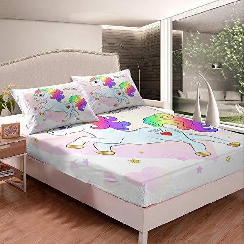 Loussiesd Juego de sábanas con diseño de unicornio, diseño de unicornio mágico para niños y niñas, juego de ropa de cama con diseño de unicornio arcoíris y unicornio, 2 piezas, tamaño individual