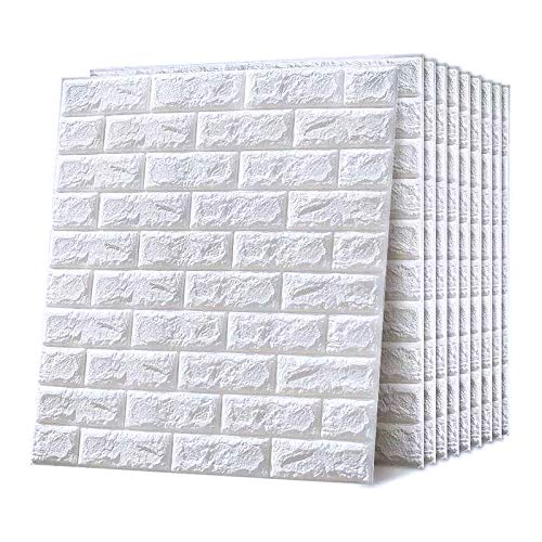 Emsmil Pegatina Pared 3D Ladrillo Blanco Autoadhesivo 10 Piezas 77 x 70cm Impermeable Revestimiento de Paredes Moderno Papel...