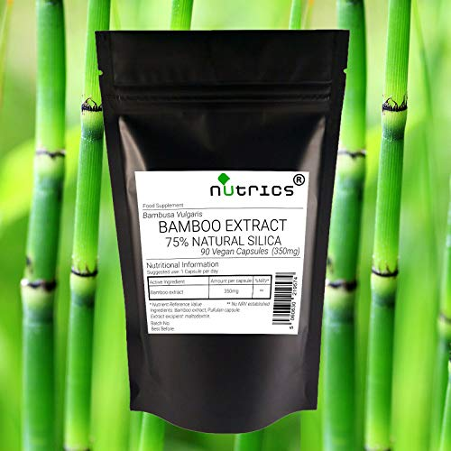 Nutrics Bamboo Extract 75% Natural Silica 350mg Bambusa Vulgaris | 360 V Capsules (1 Year Supply) |Made in The UK by Nutrics Laboratories |Suitable for Vegan Vegetarian Halal Kosher
