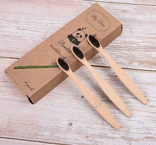 Spazzolino da denti biodegradabile in bambù organico ecologico Moso Bamboo con manici...