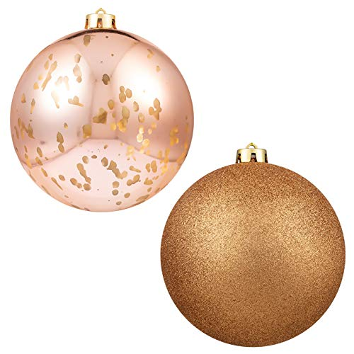 """Christmas Ball Ornaments Rose Gold Giant Shatterproof Plastic Decorative Hanging Mercury Ballfor Holiday Party Decorations Set of 2,(15cm-6"""")"""