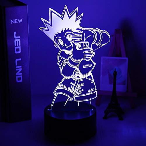 Gon and Killua Figura 3D Luz nocturna Anime Hunter X Hunter Luz para dormitorio infantil Iluminación de regalo infantil HxH lámpara de noche