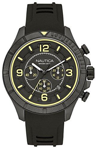 Nautica nst-450 Herren Uhr analog Quarzwerk mit Kautschuk Armband NAI19526G