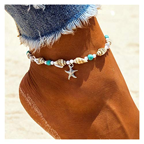 YJDLC Mujeres niñas Shell Zhuhai Star Anklet Beach Beach Beklet Pulsera Pierna Hecha A Mano Boho Anklet Boho Jewelry Sandals Regalo Accesorios de Decoracion (Metal Color : F177)