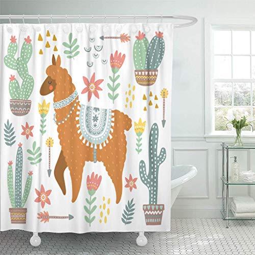 Duschvorhang Weiß Abstrakte Alpaka & Kakteen Amerika Duschvorhänge Sets mit Haken Wasserdichtes Polyestergewebe