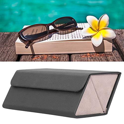 Estuche de exhibición de gafas de sol Diseño plegable Caja de almacenamiento de gafas de sol caja de vidrio resistente y pequeño y delicado PU al aire libre para el hogar (negro)