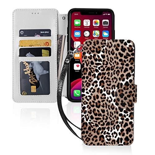 Funda para iPhone 11 PU cuero cartera cubierta leopardo o Jaguar patrón sin costuras moderno animal Vector ID efectivo tarjetas de crédito ranuras titular bolsa de transporte folio bolsillo Flip Cover