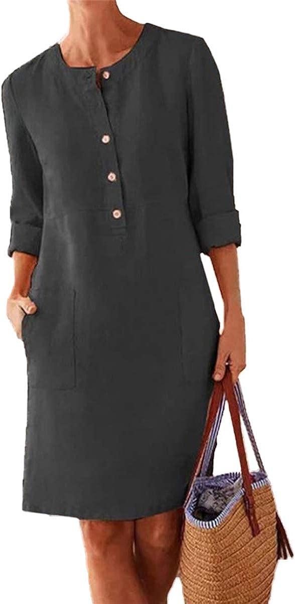 Women's Cotton Linen Dress 3/4 Roll-up Sleeve Midi Length Button Down Shirt Dresses with Pockets