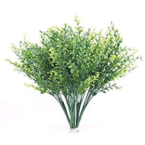artificial shrubs, artificial plant eucalyptus leave, the bloom times fake greenery foliage plants for wedding, garden, farmhouse, office outdoor, idea for halloween, christmas, new year (6 pack) silk flower arrangements