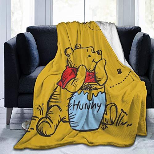 WOMFUI Winnie-The-Pooh Manta cálida de franela súper suave para niños, hombres y mujeres, 127 x 101 cm