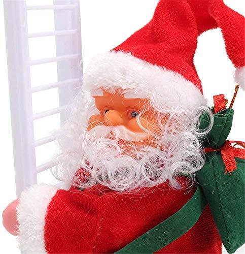 Kawye Climbing Ladder Santa Christmas Electric Climbing Santa Claus Xmas Figurine Ornament Climbing with Music Hanging Decor Party Decoration Gifts