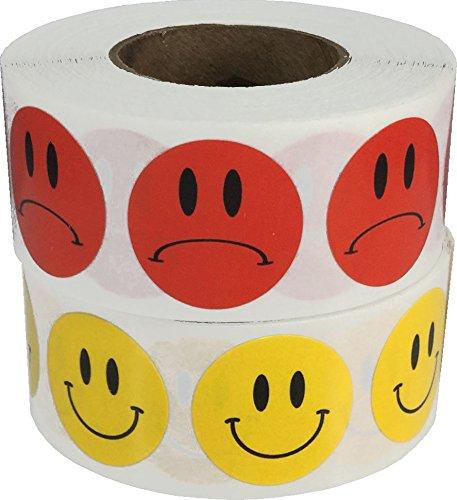 Gele Blij en Rode Droevige Gezicht Stickers Bulk Verpakking, 19 mm 3/4 Inch Cirkel Punt Labels, 2 Gezichten, 500 per Gezicht