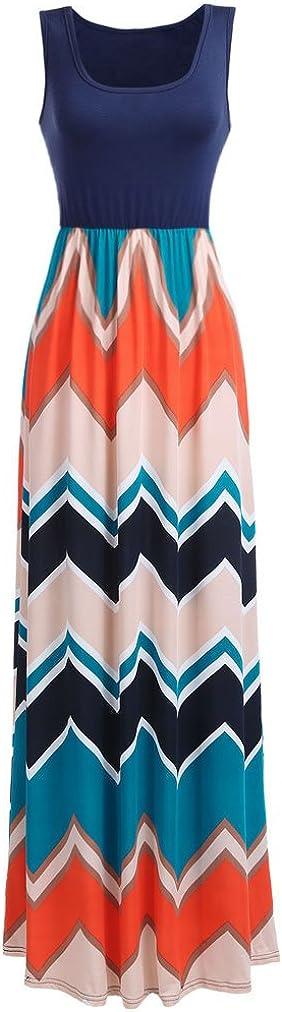 She Women Boho Chevron Striped Floral Printed Summer Sleeveless Tank Long Maxi Party Dress