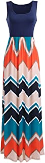 Women Boho Chevron Striped Floral Printed Summer Sleeveless Tank Long Maxi Party Dress