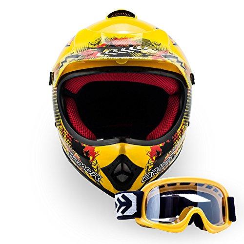 ARMOR Helmets AKC-49 Kinder-Cross-Helm, DOT Schnellverschluss Tasche, M (55-56cm), Gelb