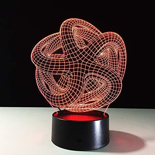3D Ilusi/ón Optica Tren de Cabeza Luz Nocturna 7 Colores Cambio de Bot/ón T/áctil USB de Suministro de Energ/ía LED L/ámpara de Mesa L/ámpara Regalo de Navidad Cumplea/ños